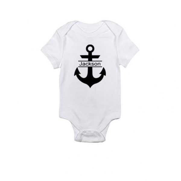 Anchor with Personalized Name Baby Onesie