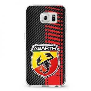 Fiat 500 Abarth logo on a field of simulated Carbon Fiber Red Racing Stripes Design Cases iPhone, iPod, Samsung Galaxy