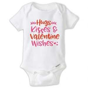 Hugs Kisses & Valentine Wishes Baby Onesie