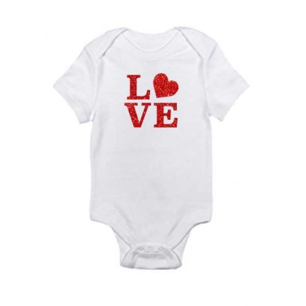 LOVE With Red Glitter and Heart Baby Onesie