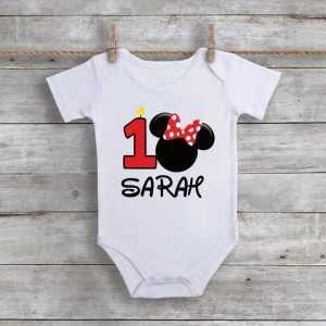 Minnie Mouse 1st Birthday Baby Onesie