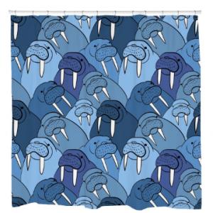 Wall of WalrusShower Curtain