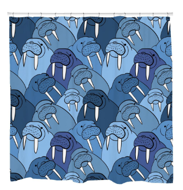 Wall of Walrus Shower Curtain