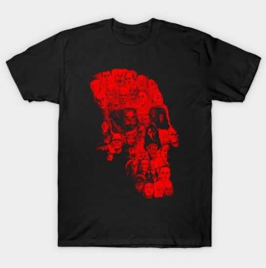 Horror Skull (red version) tee shirt