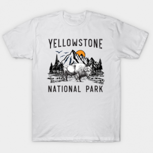 Vintage Yellowstone National Park Wyoming Mountains Bison tee shirt