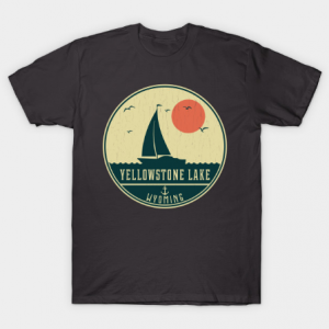 Yellowstone Lake Sailing Design tee shirt