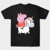 Unicorn and peppa pig tee shirt