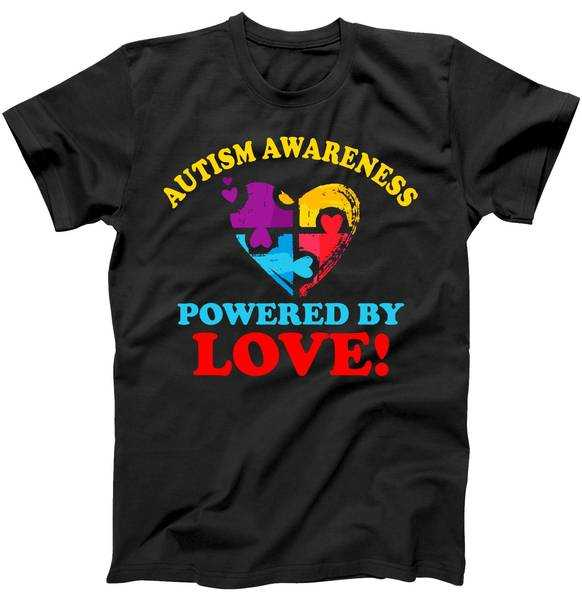 Autism Awareness Powered By Love Puzzle Heart tee shirt