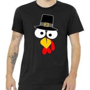 Pilgrim Turkey Big Face Thanksgiving tee shirt