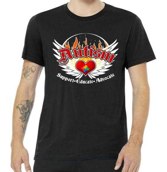 Support Educate Advocate - Autism Flames tee shirt