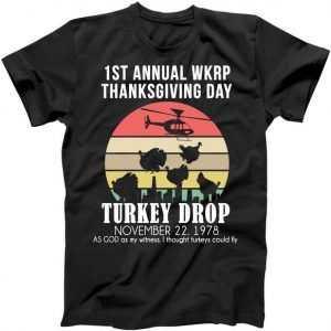 Thanksgiving WKRP Turkey's Drop tee shirt