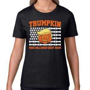 Trumpkin Make Halloween Great Again Skull Bone Flag tee shirt