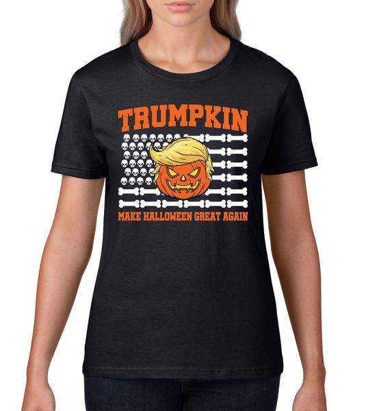 Trumpkin Make Halloween Great Again Skull Bone Flag tee shirt