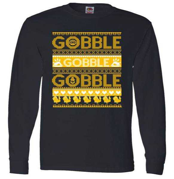 Ugly Thanksgiving Gobble Gobble Gobble Turkey Long Sleeve tee shirt