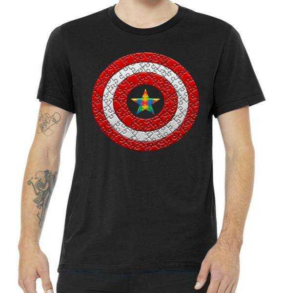 Autism Awareness Star Hero Shield tee shirt