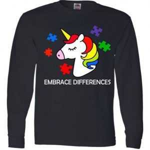 Unicorn Embrace The Differences Autism Long Sleeve tee shirt