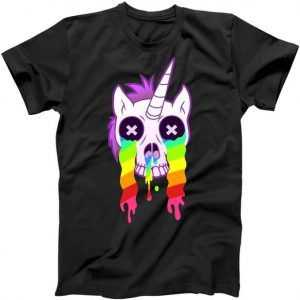 Unicorn Skull Rainbow tee shirt