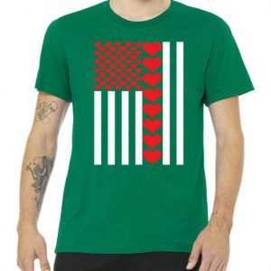 Valentines Day American Flag tee shirt