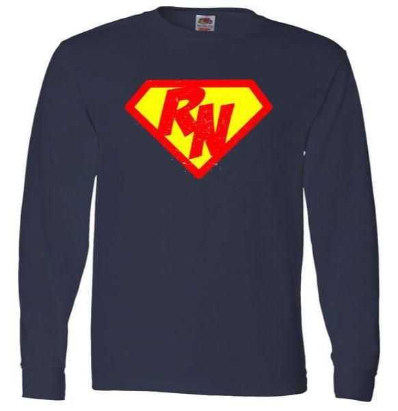 Vintage Super Nurse RN Distressed Long Sleeve tee shirt